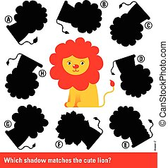 Matching young cartoon lion with the right shadow -...