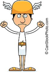 Cartoon Angry Hermes Man - A cartoon Hermes man looking...