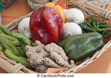 basket with vegetables and fruits of various kinds