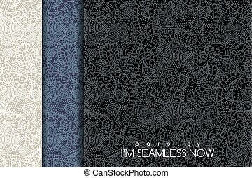 Seamless paisley pattern - Vector seamless set of vintage...
