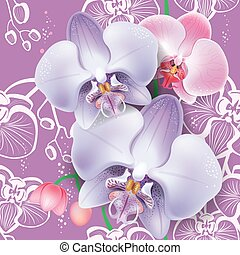 Seamless floral pattern with pink orchid