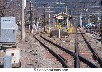FUJIKAWAGUCHIKO, JAPAN - March 02: Kawaguchiko Station in...
