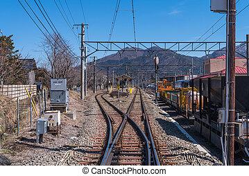 YAMANASHI, JAPAN - March 02,2015: Shimoyoshida railway...