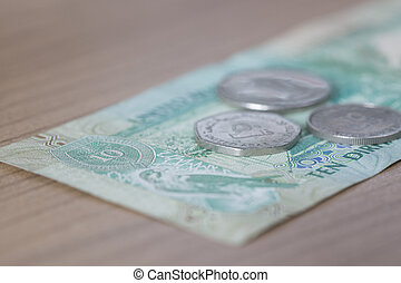 Ten Dirham Note and Coins, Currency of the United Arab...