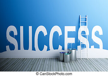 word success painted on isolated wall - success paint on...