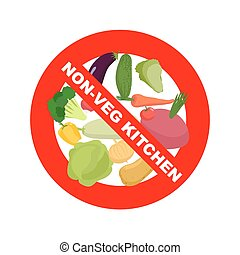 Stop sign Banning Red sign Strikethrough vegetables:...