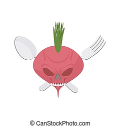 Veggie logo. Scary beet with eyes and teeth. Fork and spoon....