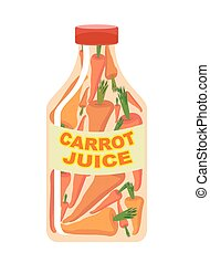 Carrot juice. Juice from fresh vegetables. Carrots in a transparent bottle. Vitamin drink for healthy eating. Vector illustration.
