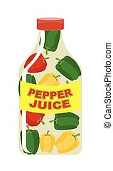 Pepper juice. Juice from fresh vegetables. Colored peppers...