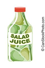 Salad juice. Juice from fresh vegetables. Lettuce in a...