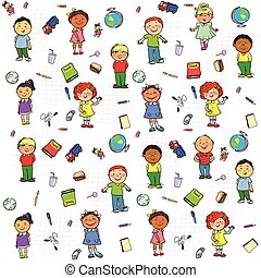Seamless pattern with kids on it - Seamless pattern with...