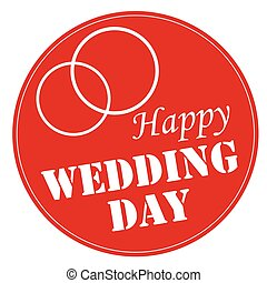 Happy Wedding Day - Red stamp with text Happy Wedding...