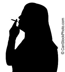 smoking woman silhouette vector