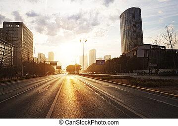 都市, 現代, 日没, 現場, 道