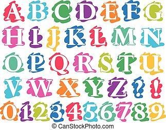 Colour doodle splash alphabet letters and digits