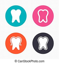 Tooth enamel protection icons Dental care signs - Circle...