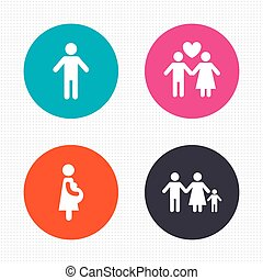 Family lifetime icons. Couple love and pregnancy