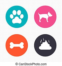 Pets icons Dog paw and feces signs - Circle buttons Pets...