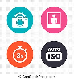 Photo camera icon Flash light and Auto ISO - Circle buttons...