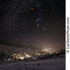 Winter night - Winter landscape of mountain town at night
