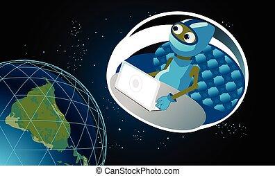 Alien - Vector illustration of alien on a spaceship blasts...