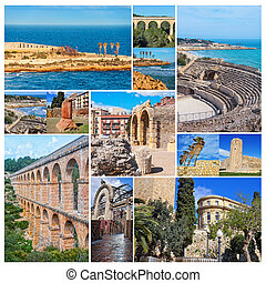 Set of photos - Tarragona landmarks, Spain - Set of photos -...