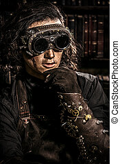mechanism - Portrait of a man steampunk in his research...