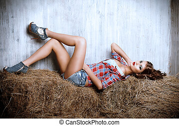 on a hay - Seductive young woman in jeans shorts and a plaid...
