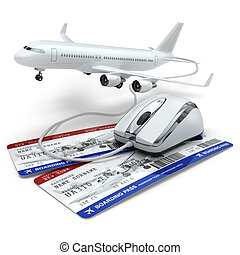 Online booking flight or travel concept. Computer mouse,...