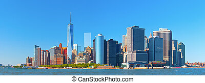 New York City lower Manhattan financial wall street district...