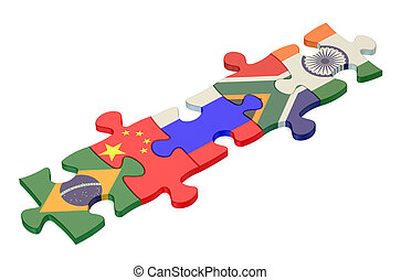 BRICS summit concept with puzzle isolated on white...