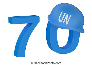United Nations 70 years concept isolated on white background
