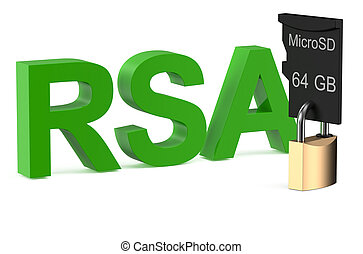 RSA concept with lock isolated on white background