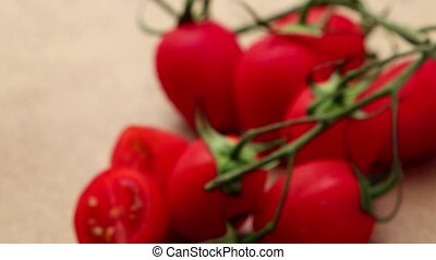Cherry tomatoes  on stone background.