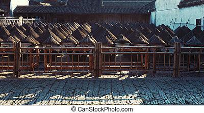 tradicional, chino, fermentación, latas,