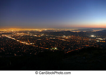 Pasadena and Los Angeles Night Aerial - Aerial night view of...