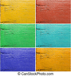 Set of six painted wooden textures in different colors,...