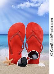 sommer, Pleiten, schnellen, Szene, urlaub,  Sandals, sandstrand