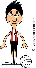 Cartoon Smiling Volleyball Player