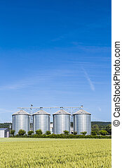 four silver silos in field under bright sky - four silver...