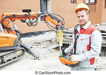 constructor, trabajador, Operar, Demolición,...