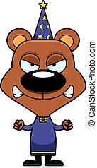 Cartoon Angry Wizard Bear