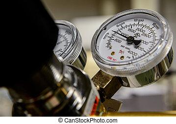 Gas pressure gauge on a cylinder regulator.