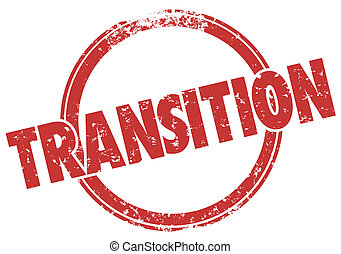 Transition Word Red Grunge Style Stamp Change Transformation...
