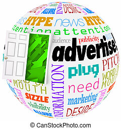 Advertise Marketing Word Globe Planet Business Exposure Growth