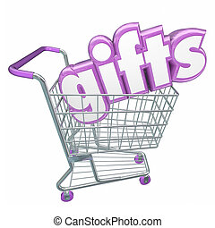 Gifts Shopping Cart 3d Word Buying Products Store Customer -...