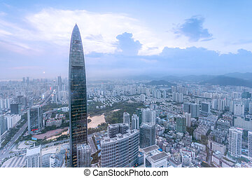 skyline,office building and modern cityscape of shenzhen
