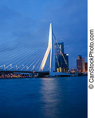 Twilight at Erasmus Bridge in Rotterdam