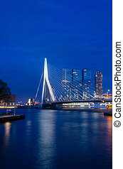 Erasmus Bridge in Rotterdam, Twilight time
