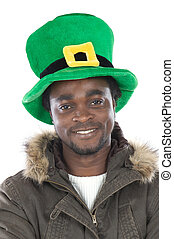 African American with saint patricks hat isolated
